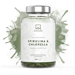 Spirulina Chlorella Kapseln [ 1800 mg ] 180 Stück von Aava Labs – Eine Mischung von hochwertigen Pflanzeninhaltsstoffen aus dichten blauen Algen – Für Smoothies und Säfte besonders geeignet – 100% vegan und glutenfrei – In unabhängigen Laboren getestet – In Europa hergestellt.