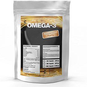 OMEGA-3 1000 mg   500 Softgel-Kapseln Big Pack XL   Premium Lachsöl / Fischöl   Hochseefisch + Vitamin E, 18% EPA / 12% DHA   Gesunde Fettsäuren   Zum Fairen Preis