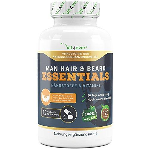 Man Hair & Beard Essentials - 120 Kapseln für 30 Tage Kur - Haar & Bart Vitamine für Männer - Haarwachstum & gesunde Haare - Biotin, Hirseextrakt, Selen, Zink & Vitamine