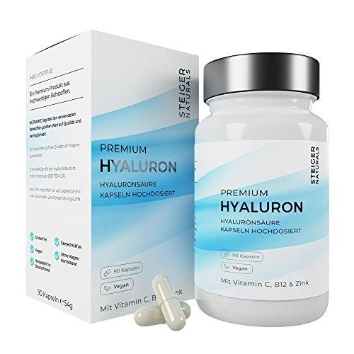Hyaluronsäure Kapseln – Hochdosiert mit 350 mg. 90 Stück (3 Monate). Mit Vitamin C, B12 und Zink. Hyaluron mit 500-700 kDa. Vegan – Für Haut, Anti-Aging und Gelenke – Hyaloronsäure