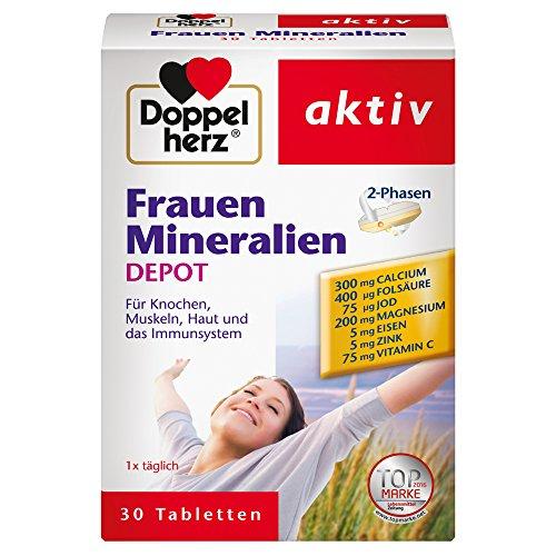 Doppelherz Frauen Mineralien DEPOT – Nahrungsergänzungsmittel mit vielen Mineralien und Vitaminen – Tabletten mit 2-Phasen-System – 1 x 30 Tabletten