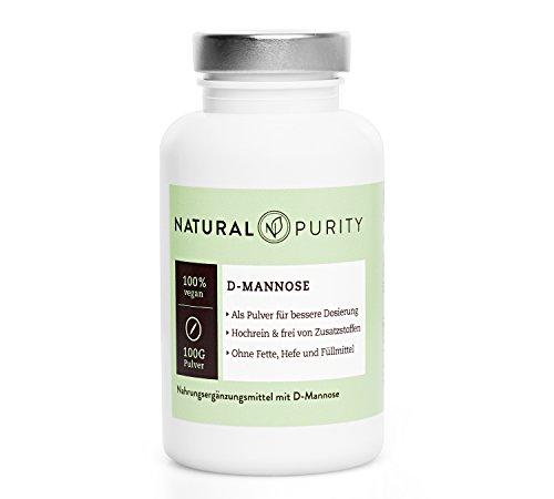 D-Mannose Pulver – 100g – Zur Entgiftung bei Blasenentzündungen – 100% naturbelassen, rein & ohne Zusatzstoffe, Fette, Hefen oder Füllmittel – Einfache Dosierung – Natural Purity