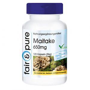 Maitake 650mg (Grifola frondosa), vegan und natürlich, ohne Magnesiumstearat, 120 Kapseln, reich an Polysacchariden (Glucane)