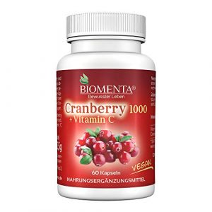 BIOMENTA CRANBERRY 1000 + VITAMIN C | AKTIONSPREIS!!! | Cranberry HOCHDOSIERT & VEGAN | 60 Cranberry-Kapseln