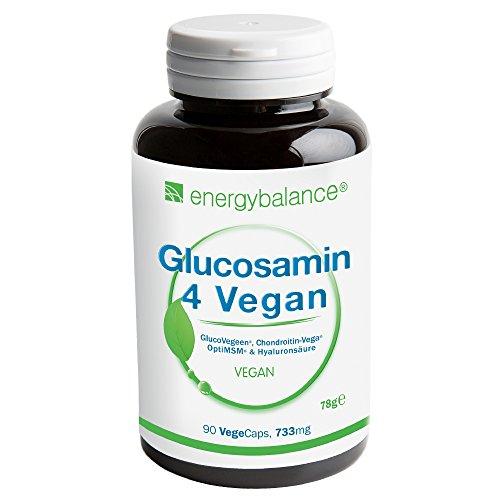 Glucosamin 4 Vegan 733mg pro Kapsel | 4 in einem: Vier vegane Inhaltsstoffe in einem Präparat zur Unterstützung und zum natürlichen Wohlbefinden von Gelenken, Gelenken und Knorpel: Glucosamin, Chondroitin, MSM (Methylsulfonylmethan) und Hyaluronsäure (mit optimaler Molekülmasse), | VEGAN garantiert | 90 pflanzliche Kapseln