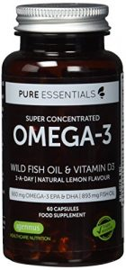 Pure Essentials Omega-3 Fischöl & Vitamin D3 | Hohe Konzentration 660mg EPA & DHA | 893 mg Fischöl | 60 Kapseln