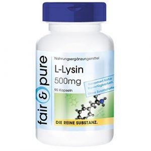 L-Lysin 500mg, vegan, ohne Magnesiumstearat, essentielle Aminosäure, 90 Lysin-Kapseln
