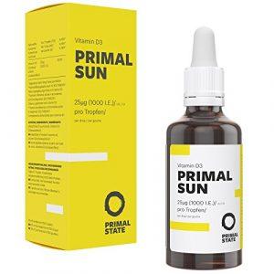 Vitamin D Tropfen Hochdosiert PRIMAL SUN | In Kokosöl gelöst | Unabhängig zertifiziertes Premium Vitamin D3 (Cholecalciferol) | 1000 I.E. – 25 µg je Tropfen | 1150 Tropfen