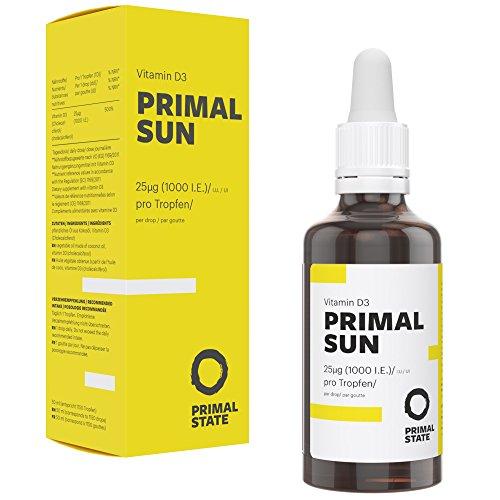 Vitamin D Tropfen Hochdosiert PRIMAL SUN | In Kokosöl gelöst | Unabhängig zertifiziertes Premium Vitamin D3 (Cholecalciferol) | 1000 I.E. - 25 µg je Tropfen | 1150 Tropfen