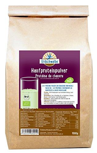 Erdschwalbe EU Bio Hanfprotein - Hergestellt und Rohware EU - Vegan und glutenfreies Eiweißpulver - 1 Kg