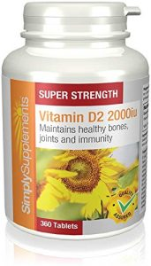 Vitamin D2 2000iu – 360 Tabletten – Versorgung für bis zu 1 Jahr – notwendiges Vitamin für gesunde Knochen und Zähne – SimplySupplements