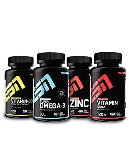 ESN Essential Vitamins & Minerals Pack 2, essentielle Vitamine und Mineralien im Vorteilspack, Zink, Vitamin D3, Omega 3 Fettsäuren, Multivitamin