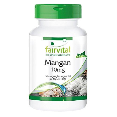 Mangan 10mg - GROSSPACKUNG für 3 Monate - HOCHDOSIERT - VEGAN - 90 Kapseln - essentielles Spurenelement