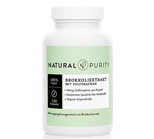 Brokkoli Extrakt – 120 hochdosierte Kapseln à 500mg – 50mg Sulforaphan pro Kapsel –100% vegan – hochreine Qualität des Wirkstoffes – Natural Purity