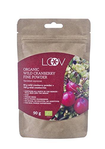 Pulver aus Cranberrys, wild, biologisch, 100% ganze Frucht, roh, Vorrat für 18 Tage, ausgezeichnete Quelle von Antioxidantien und Vitamin C, 90 g, kein Zucker zugesetzt, keine Zusatzstoffe, hervorragendes natürliches Nahrungsergänzungsmittel und ein purer Ersatz für Cranberrysaft, Pillen, Tabletten und Kapseln, Supernahrungsmittel, ohne Gentechnik.
