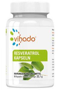 Vihado Resveratrol Kapseln hochdosiert, 150mg echtes Trans-Resveratrol pro Kapsel, vegan ohne Magnesiumstearat, 3-Monatspaket, 90 Kapseln