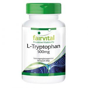 L-Tryptophan 500mg – GROSSPACKUNG für 3 Monate – VEGAN – HOCHDOSIERT – 90 Kapseln – essentielle Aminosäure