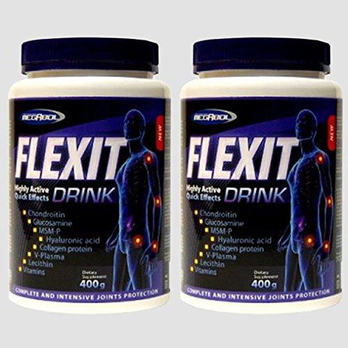 2x FLEXIT DRINK = 800g Pulver | hochdosierte Gelenk-Komplex Formel | Glucosamin - Chondroitin - MSM - Kollagen - Hyaluronsäure - Gelenk - Knorpelschutz | für Jung und Alt