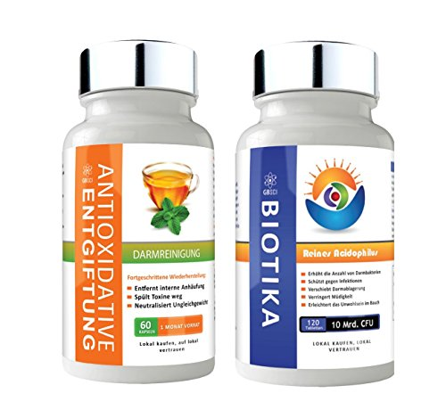 GBSci Biotika & Antioxidantien-Entgiftungskur-Kombo - Eine einmalige Kombination aus reinen Lactobacillus Acidophilus Biotika und einer Antioxidantien-Entgiftungskur - Vegetarisch/Vegan - Sicher und glutenfrei