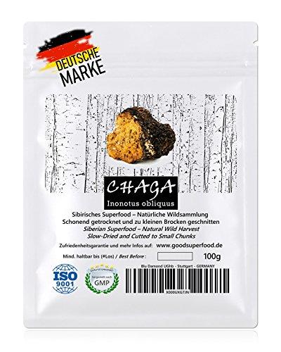 CHAGA (Sibirisches Superfood) - Natürliche Wildsammlung | TOP-Qualität vom Original | 100mal mehr Antioxidantien (ORAC-Wert) als Goji-Beeren | GMP + ISO-9001-zertifiziert + laborgeprüft | roh vegan + schonend getrocknet | kleine Brocken (kein Pulver) - optimal für Tee | nur hochwachsender Pilz von der Birke | Deutsche Qualitätssicherung | Zufriedenheitsgarantie | 100g