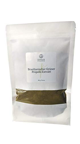 Grüner Propolis Trockenextrakt - Spitzenqualität aus Brasilien Pulver 80G - Propolis Extrakt OHNE Alkohol - 100% Natürlich und Rein