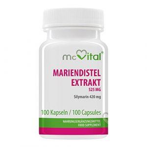 Mariendistel Extrakt 525 mg – Silymarin 420 mg – Fördert Regenerationsfähigkeit und Funktion der Leber – 100 Kapseln