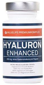 Hyaluronsäure – 250mg in Kapseln I Micro- Molekular 500-700 KDa – extra hochdosiert I Beste Bioverfügbarkeit I Angereichert mit Zink + Biotin I 100% vegan I 2 Monatspackung