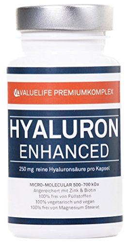 Hyaluronsäure - 250mg in Kapseln I Micro- Molekular 500-700 KDa - extra hochdosiert I Beste Bioverfügbarkeit I Angereichert mit Zink + Biotin I 100% vegan I 2 Monatspackung