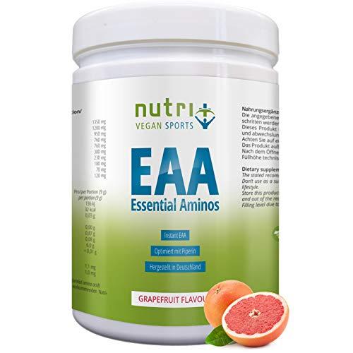 EAA PULVER Vegan 500g | HÖCHSTE DOSIERUNG | alle essentielle Aminosäuren | Grapefruit EAAs | Hergestellt in Deutschland | Nutri-Plus Sports