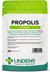 Lindens Propolis 1000 mg Tabletten | 60 Verpackung | Beliebte Nahrungsergänzung, die traditionell seit tausenden von Jahren angewendet wird, ganz praktisch als Extrakt in einer Tablette für die einmalige Einnahme am Tag