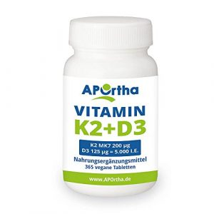 APOrtha Natto Vitamin K2 MK7 200 µg + Vitamin D3 5.000 i.E. | 365 vegane Tabletten | hochdosiert