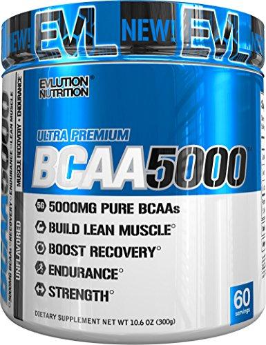 Evlution Nutrition BCAA 5000 | Pulverartiges Aminosäuren Ergänzungsmittel Mit 5 Gramm Premium BCAA Nicht Aromatisiert | 60 Portionen