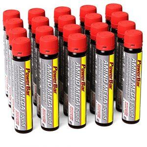 PowerBar Amino Mega Liquid – Aminosäuren Komplex – Alle essentiellen Aminosäuren in einer Ampulle – Mit Whey Hydrolysat – 20 Ampullen