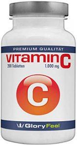 Der Vitamin C VERGLEICHSSIEGER 2018* – 1000mg Hochdosiert – 200 vegane Tabletten – Bis zu 7 Monate Vollversorgung – Laborgeprüft und ohne unerwünschte Zusätze von GloryFeel