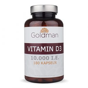 Goldman Vitamin D3 • 180 Kapseln hochdosiert mit 10.000IE • Vegan, laktosefrei, glutenfrei, zuckerfrei • Keine Magnesiumsalze • Sonnenvitamin • Made in Germany