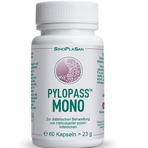 Pylopass MONO 200mg, 60 Kapseln, Zur diätetischen Behandlung von Helicobacter Pylori Infektionen, hochdosiert, vegan, laktosefrei, glutenfrei, qualitätsüberwacht
