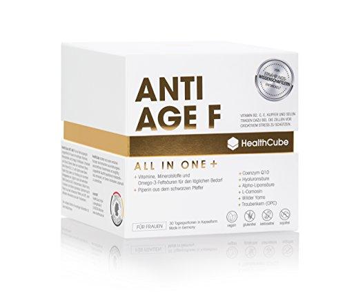 Anti-Aging Pflege für Frauen - Multivitamin Kapseln Hochdosiert | Vitamin A, B5, B12, C, D3, E/Mit Q10 / Omega 3 Fettsäuren/OPC / Hyaluronsäure • 100% Vegan • Made in Germany / 30 TAGE VORRAT