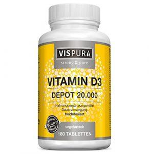Vitamin D3 hochdosiert 20000 IE pro Tablette (20-Tage Dosis) 180 vegetarische Tabletten (teilbar) ohne Magnesiumstearat in deutscher Premium-Qualität und 30 Tage kostenlose Rücknahme