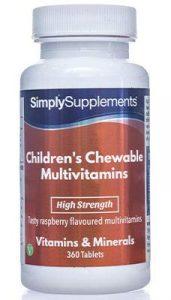 Multivitamin Kautabletten für Kinder mit Himbeergeschmack – 360 Tabletten – Versorgung für 1 Jahr – entwickelt für ein gesundes Wachstum und eine gesunde Entwicklung – Simply Supplements