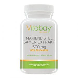 Mariendistel Samen Extrakt 500 mg – 80% Silymarin (400 mg) – frei von Trennmitteln und Füllstoffen – Detox durch Silymarin (90 Kapseln)