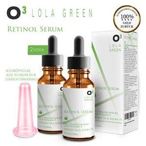 O³ Lola Green Retinol Serum hochdosiert testsieger // 2 Flaschen + Anti-Cellulite Saugglocke // Mit Hyaluronsäure und Vitamin E // Optimale Faltenbekämpfung // Anti-Aging