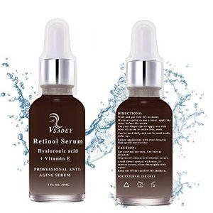 Retinol Serum von Vsadey | 2,5% Retinol mit 20% Vitamin C & Hyaluronsäure – Bestes Anti-Aging für Gesicht, Dekolleté und Körper, Anti Pickel + Mitesser, Anti Falten Straffendes Serum- Man und Frau