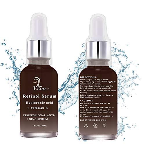 Retinol Serum von Vsadey | 2,5% Retinol mit 20% Vitamin C & Hyaluronsäure - Bestes Anti-Aging für Gesicht, Dekolleté und Körper, Anti Pickel + Mitesser, Anti Falten Straffendes Serum- Man und Frau