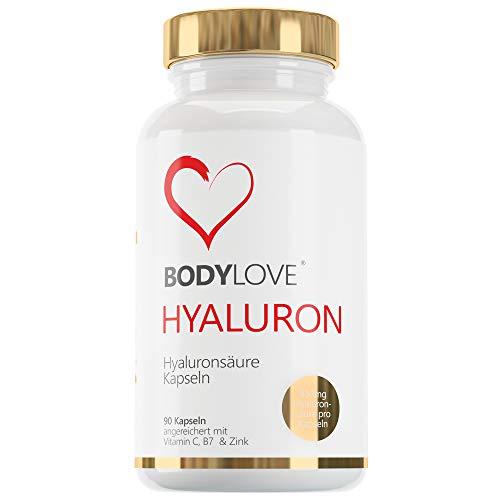EINFÜHRUNGSANGEBOT!! Hyaluronsäure Kapseln Hochdosiert mit 700mg. 90 Vegane Kapseln - 500-700 kDa - Angereichert mit Vitamin C, B7 und Zink - Für Haut, Anti-Aging, und Gelenke Bodylove®