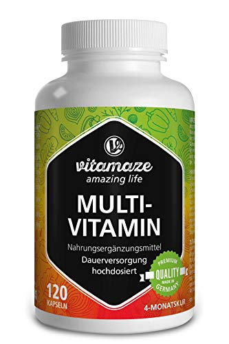 Multivitamin Kapseln hochdosiert, 23 wertvolle Vitamine A-Z, Mineralien, Mineralstoffe und Spurenelemente, 120 vegetarische Kapseln für 4 Monate OHNE Zusatzstoffe, Qualitätsprodukt-Made-in-Germany