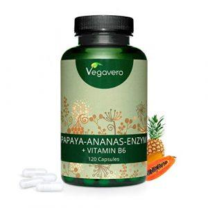VEGAVERO® Papaya Ananas Enzymkomplex | HOCHDOSIERT | Papain + Bromelain + Vitamin B6 | 120 Kapseln | Stoffwechsel* | Ohne Zusatzstoffe | Laborgeprüft | 40-Tage Kur | Vegan
