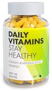 Daily Vitamins – Multivitamin Nahrungsergänzungsmittel, 19 Vitamine und Mineralstoffe in ausgewogener Rezeptur. 180 vegane Multivitamin Kapseln für 3 Monate von GET IN SHAPE