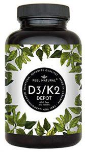 Vitamin D3 + K2 Tabletten. 180 Stück. Hochdosiert mit 5.000 IE Vitamin D3 und 200 µg Vitamin K2 pro 5-Tagesdosis. K2 MK-7 aus Natto >99% All Trans. Ohne Zusätze. Hergestellt in Deutschland