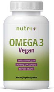 OMEGA-3 VEGAN – Essentielle O3-Fettsäuren aus Algenöl – vegane Kapseln – hochdosiertes veganes DHA Öl 800mg – pflanzlich & vegetarisch – ohne Fischöl, Rind & Gelantine