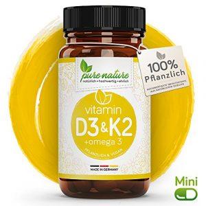 100% PFLANZLICH: Vitamin D3 + K2 + Omega 3 | 80 MINI Depot Kapsel | D3 aus Flechten | Deutsche PREMIUM Qualität | Hochdosiert 3000 i.e. | Vegan | K2 MK7 aus Natto – Omega 3 aus Leinsamen natürlich
